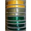 10 meter rulle satinbånd 6 mm. gul - støvet grøn - græsgrøn