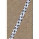 Skråbånd m/prikker hvid/marine