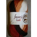 Farvori Batik long print, brændt orange/brun/hvid 100g.