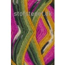 Ragg strømpegarn i lyserød, pink, grøn og gul