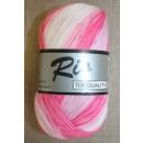 Rio mercerisered bomuld long print, lyserød/babylyserød 100g.