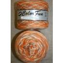 Color Fun strømpe- og sportsgarn i print orange off-white, 950 meter