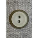 Lys beige/grøn knap m/oliven kant, 22 mm.