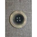 4-huls knap koksgrå/beige, 25 mm.