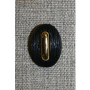 Oval knap sort/guld
