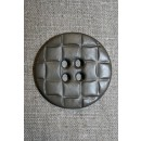 Stor knap m/flet-look, grå