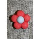 2-farvet blomsterknap koral/lysegrå