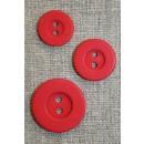 Rød 2-huls knap m/kant 15 mm.