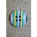 Bolche-stribet rund knap, turkis/grøn/lyserød