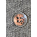 4-huls knap klar/kobber, 15 mm.