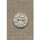 Metal-knap m/fugl sølv/hvid, 18 mm.