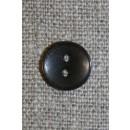 Lille mørk grå-brun 2-huls knap