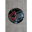 2-huls knap sort/grå/rød m/ruder/klør