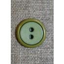 2-farvet knap lime/løvgrøn, 15 mm.