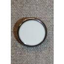 Knap sølv/knækket hvid, 18 mm.