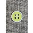 4-huls knap m/hvid kant, lime/gul 11 mm.