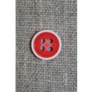 4-huls knap m/hvid kant, rød