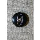 Sort knap m/sølv-ringe, 15 mm.