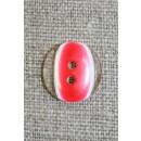 2-huls knap klar/rød, 15 mm.