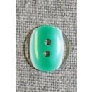 2-huls knap klar/græsgrøn, 15 mm.