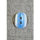 2-huls knap klar/blå, 11 mm.