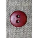Mørk rød 2-huls knap, 14 mm.