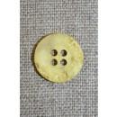 4-huls knap krakeleret lys gul, 15 mm.