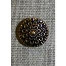 Knap guld/sort m/blomst, 15 mm.
