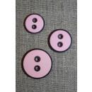 2-huls knap m/sort kant, lyserød, 15 mm.