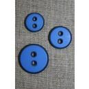 2-huls knap m/sort kant, klar blå 15 mm.
