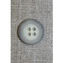 Grå-meleret 4-huls knap, 18 mm.