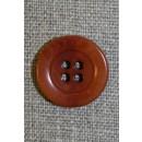 4-huls knap brændt orange-brun