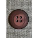 4-huls knap meleret mørk brun-rosa, 20 mm.