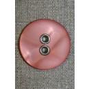 Knap m/sølv-huller, rosa 31 mm.