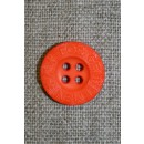 Orange 4-huls knap m/tekst, 18 mm.