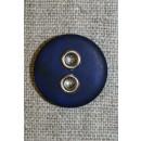 Knap m/sølv-huller, mørkeblå 22 mm.