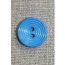 2-huls knap m/cirkler, klar mellem-blå, 15 mm.