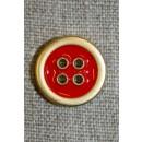 4-huls knap m/guld-kanter, rød 18 mm.