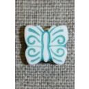 Knap m/sommerfugl, hvid/irgrøn