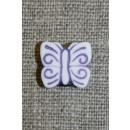 Knap m/sommerfugl, hvid/støvet lilla