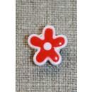 Blomsterknap rød/hvid, 15 mm.