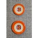 Flerfarvet knap m/cirkler, orange