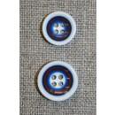Flerfarvet knap m/cirkler, hvid/blå