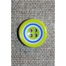 Flerfarvet knap m/cirkler, lime/blå/hvid 15 mm.
