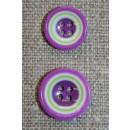 Flerfarvet knap m/cirkler, lilla/lime