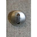 Mat sølv-knap m/aflangt mønster, 15 mm.