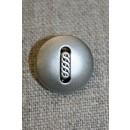 Mat sølv-knap m/aflangt mønster, 18 mm.
