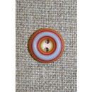 Flerfarvet knap m/cirkler, rød/lyseblå/lyserød, 13 mm.
