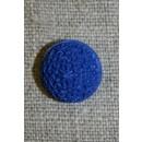 Rund knap m/mønster, 15 mm. koboltblå