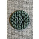 Knap i strik-look, grøn 20 mm.